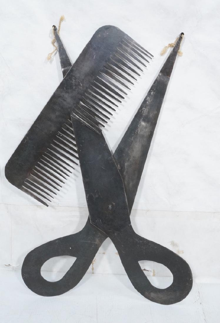 Flat Steel Figural Scissors & Comb Wall Sculpture