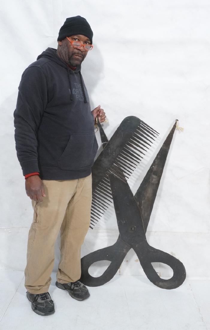 Flat Steel Figural Scissors & Comb Wall Sculpture - 2