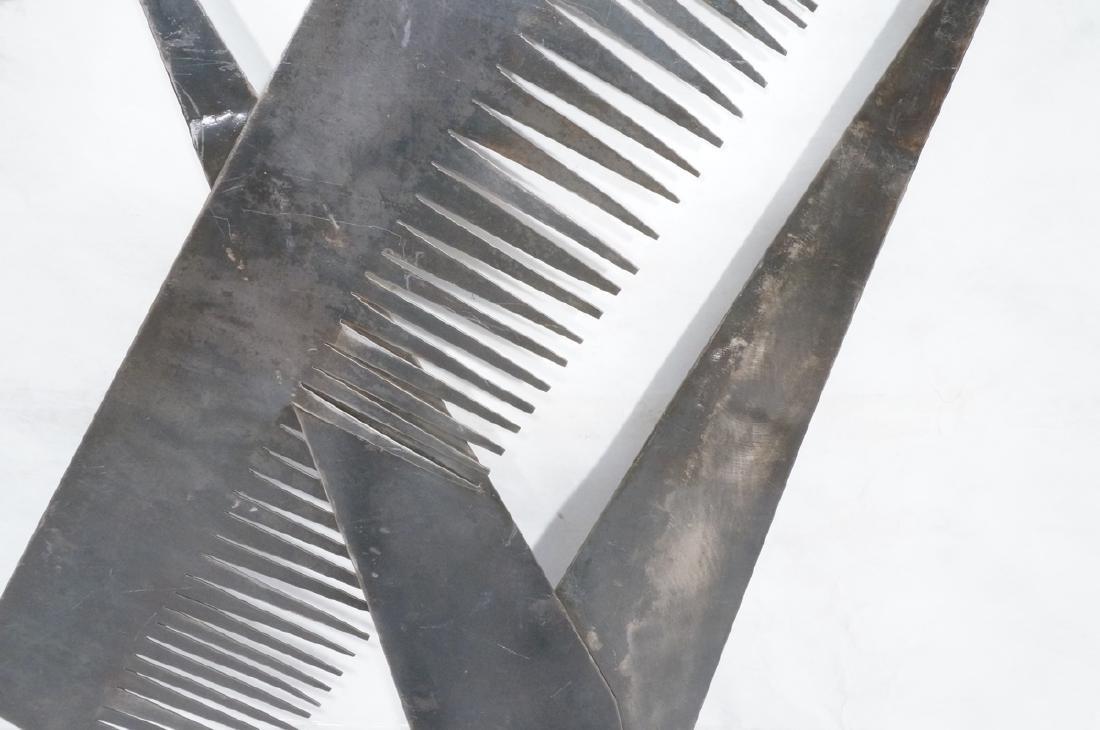 Flat Steel Figural Scissors & Comb Wall Sculpture - 4