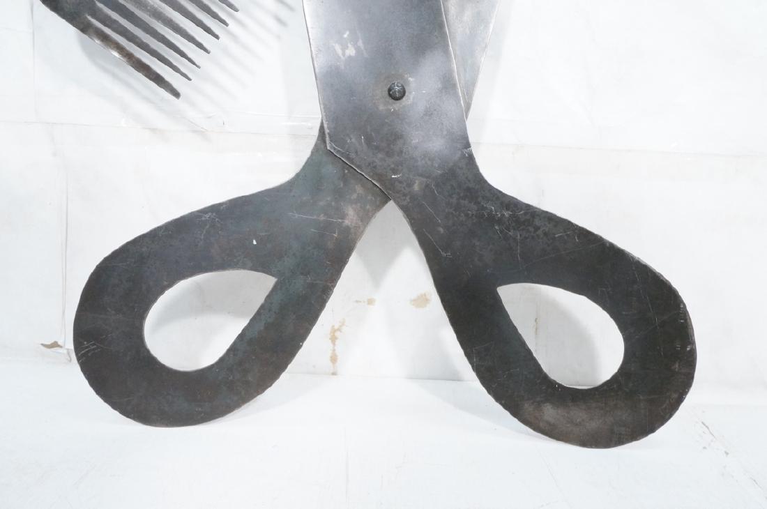 Flat Steel Figural Scissors & Comb Wall Sculpture - 6
