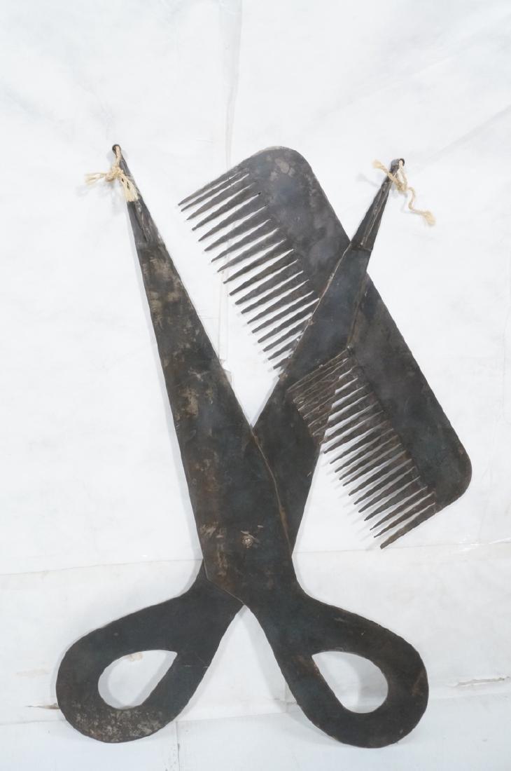 Flat Steel Figural Scissors & Comb Wall Sculpture - 8