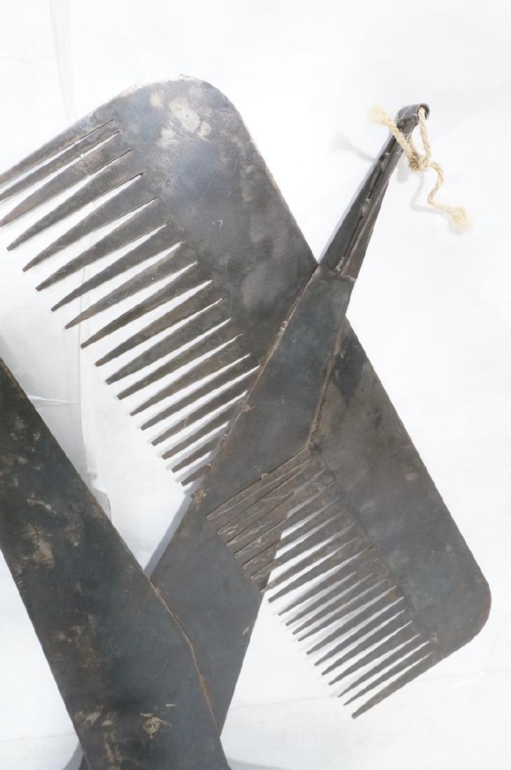 Flat Steel Figural Scissors & Comb Wall Sculpture - 9