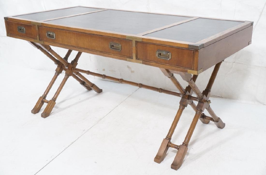 Three Drawer Campaign Desk. Modernist. Faux Bambo