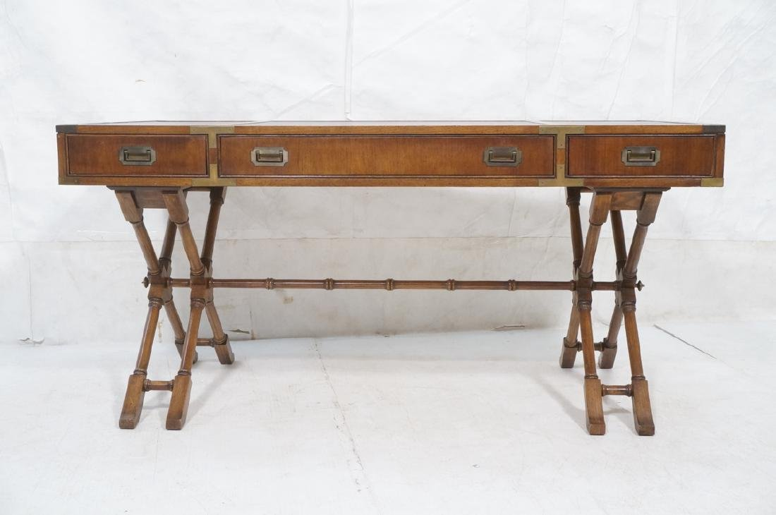 Three Drawer Campaign Desk. Modernist. Faux Bambo - 2
