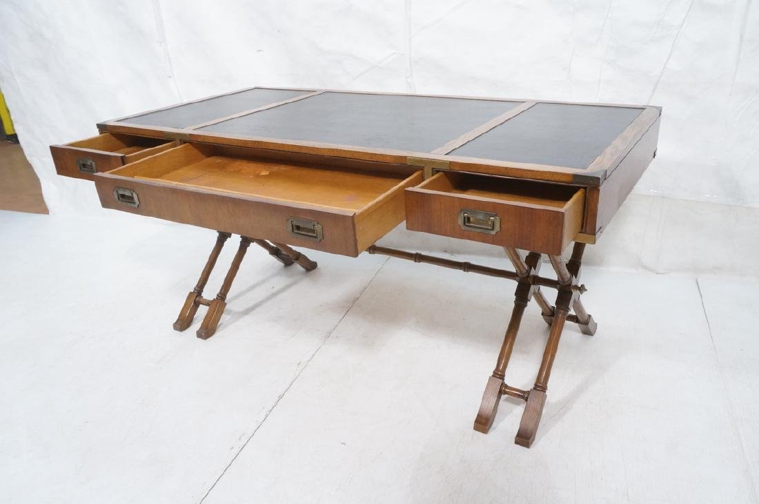 Three Drawer Campaign Desk. Modernist. Faux Bambo - 6