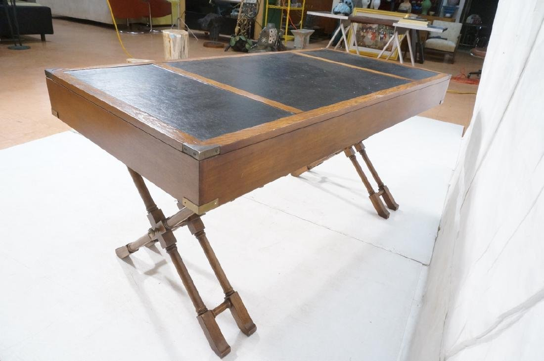 Three Drawer Campaign Desk. Modernist. Faux Bambo - 9