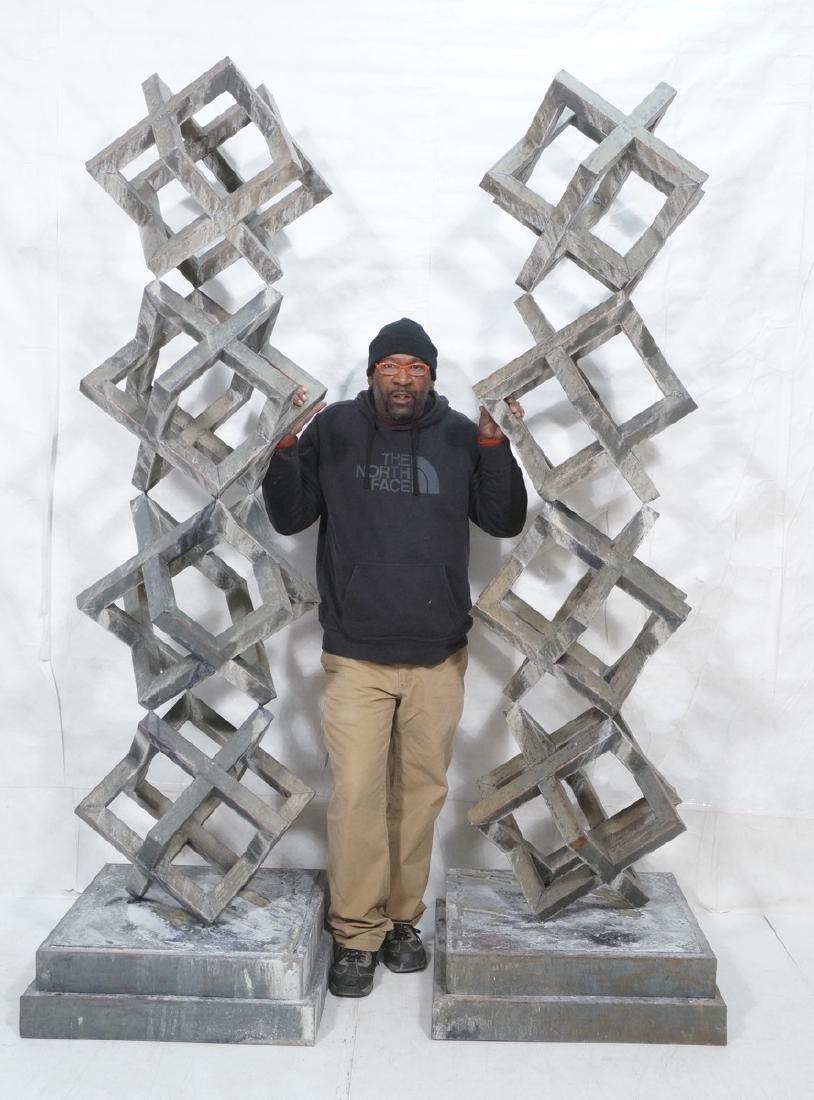 Pr Modernist Stacked Open Cube Outdoor Sculptures