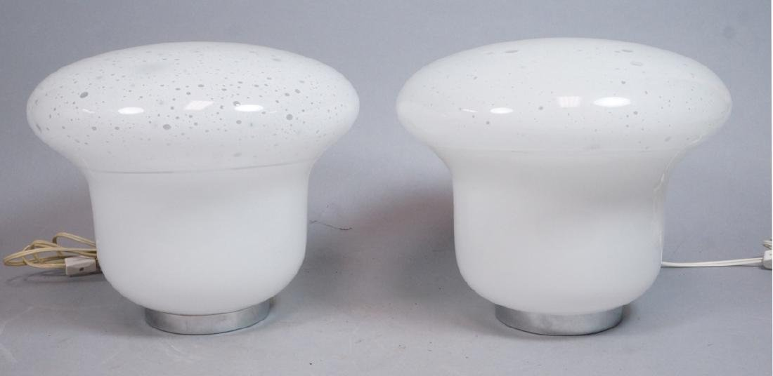 Pr Italian Glass Chrome Table Lamps. Mushroom clo