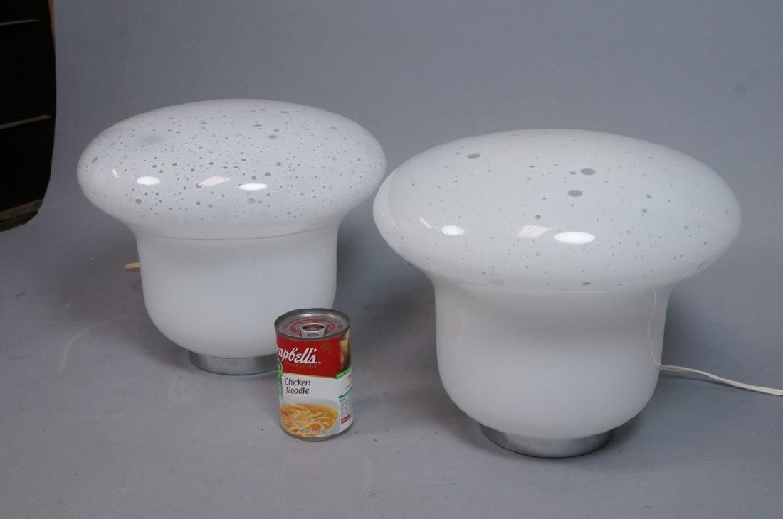 Pr Italian Glass Chrome Table Lamps. Mushroom clo - 4