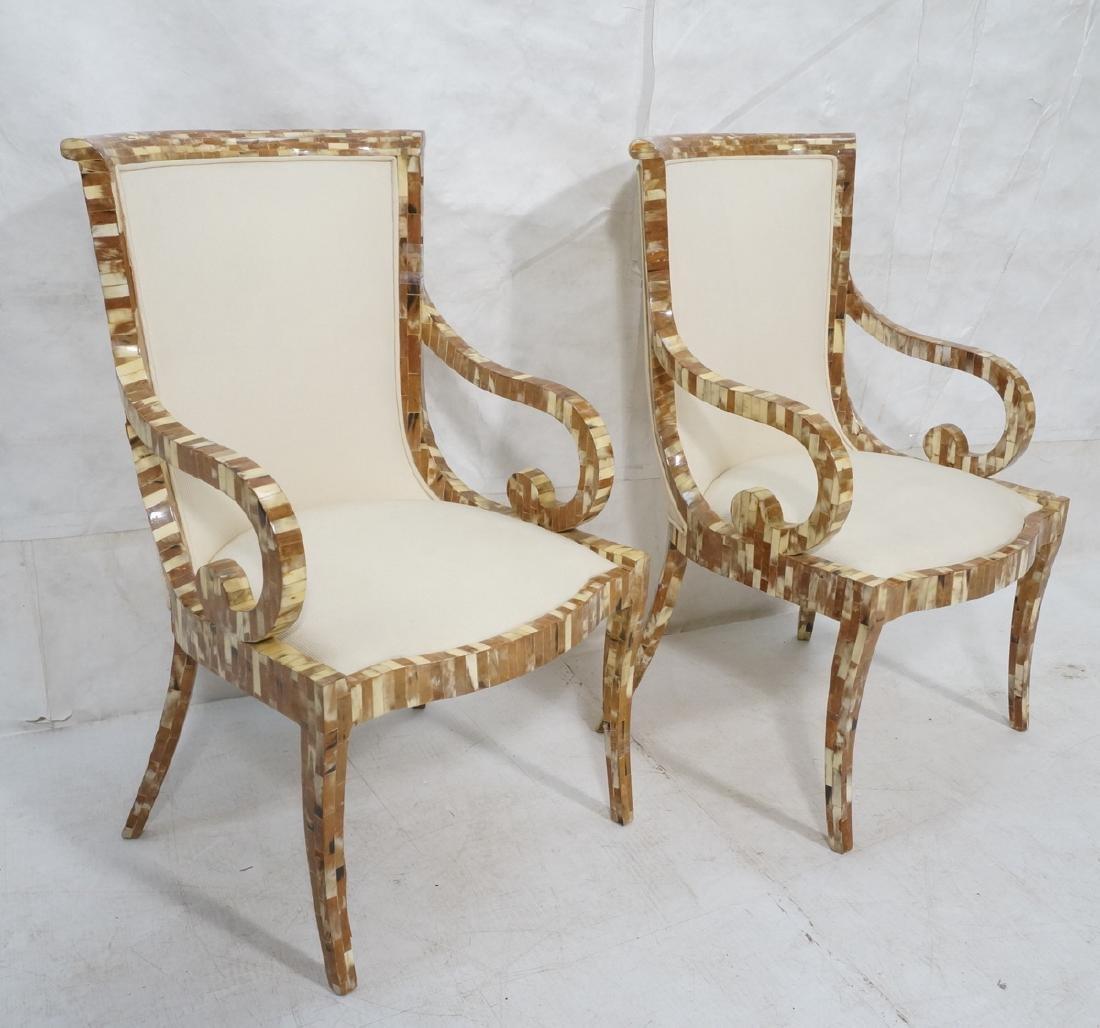 Pr Maitland Smith style Inlaid  Decorator Side Ch