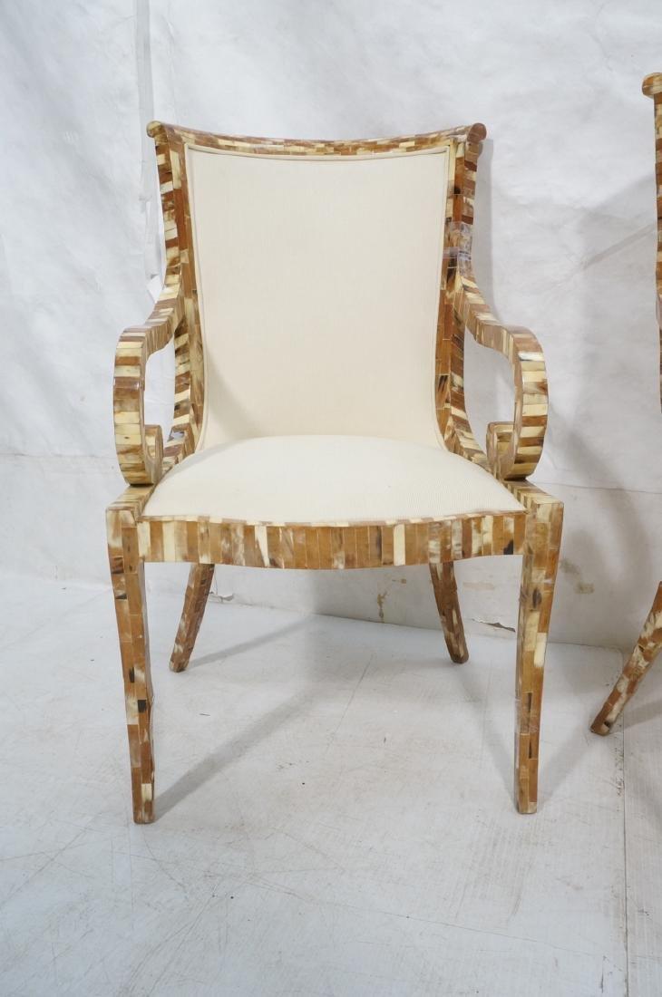 Pr Maitland Smith style Inlaid  Decorator Side Ch - 2