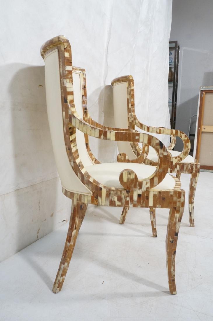 Pr Maitland Smith style Inlaid  Decorator Side Ch - 3
