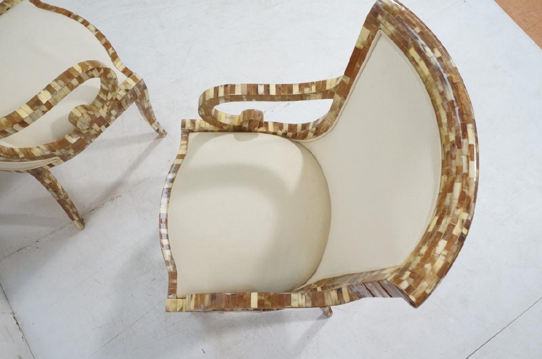 Pr Maitland Smith style Inlaid  Decorator Side Ch - 6