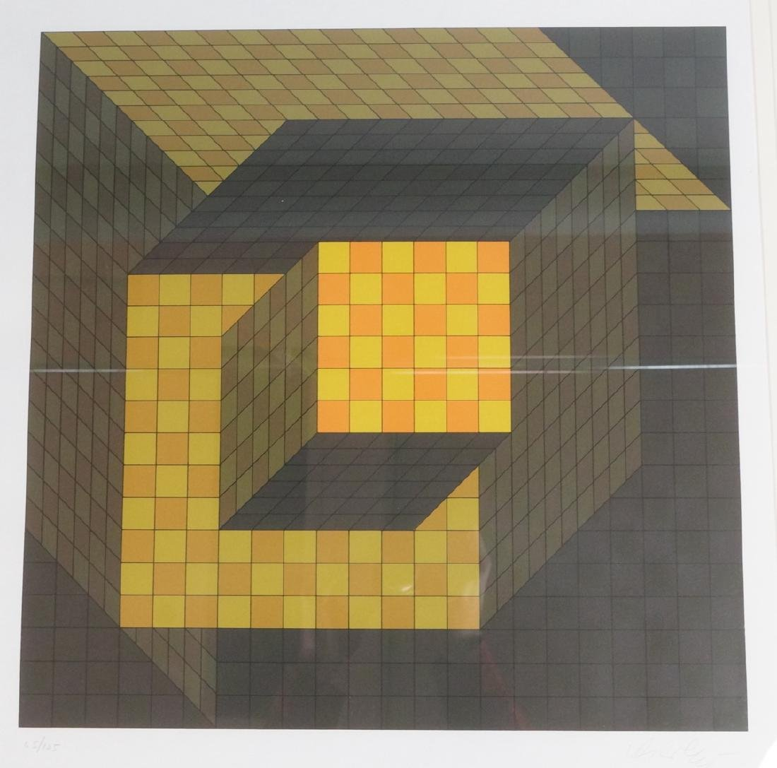 VASARELY Signed Graphic Print. Yellow & Orange Ch