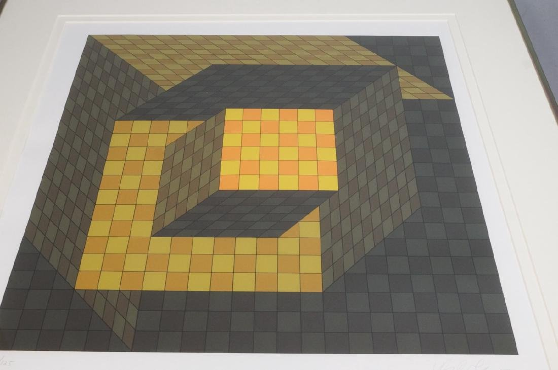 VASARELY Signed Graphic Print. Yellow & Orange Ch - 6