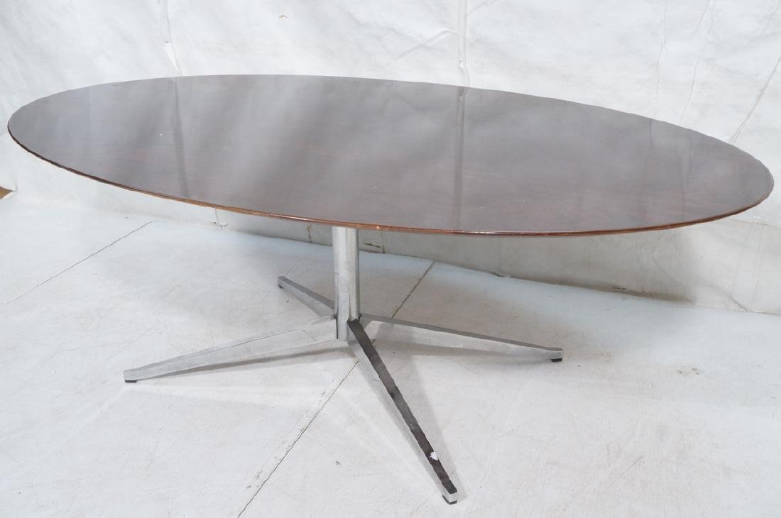 KNOLL Oval Rosewood Dining Table. Stainless Steel