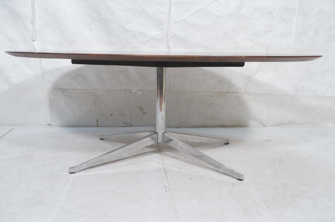 KNOLL Oval Rosewood Dining Table. Stainless Steel - 3
