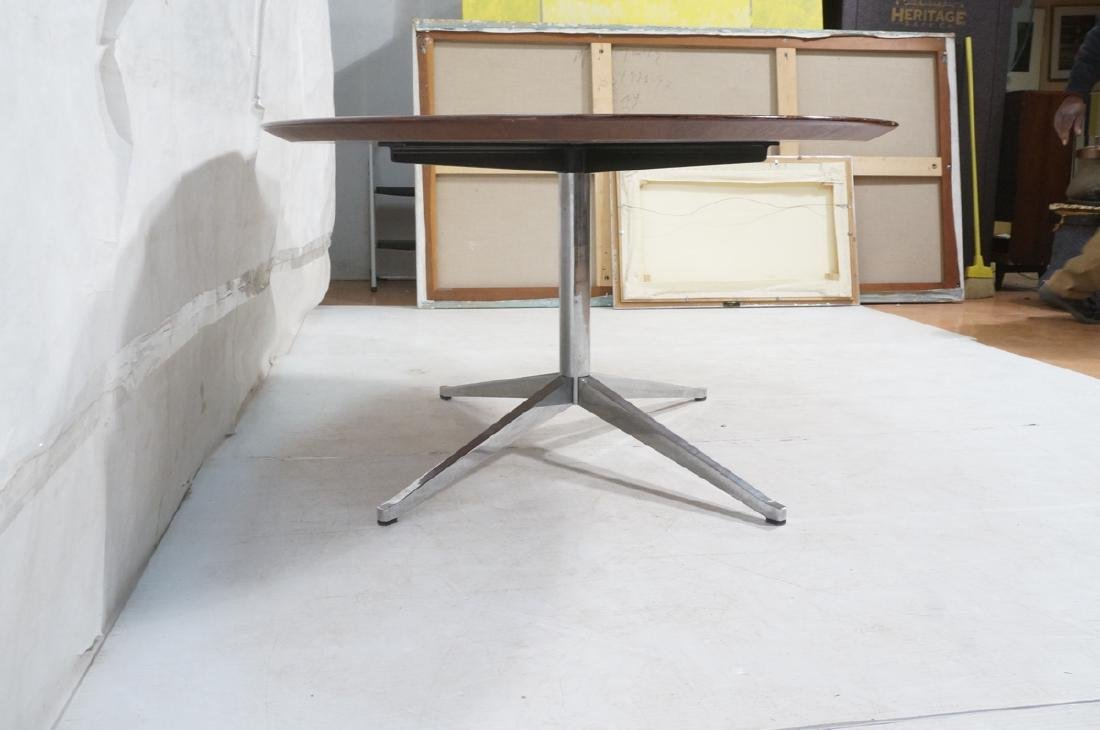 KNOLL Oval Rosewood Dining Table. Stainless Steel - 4
