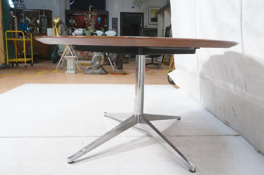 KNOLL Oval Rosewood Dining Table. Stainless Steel - 5