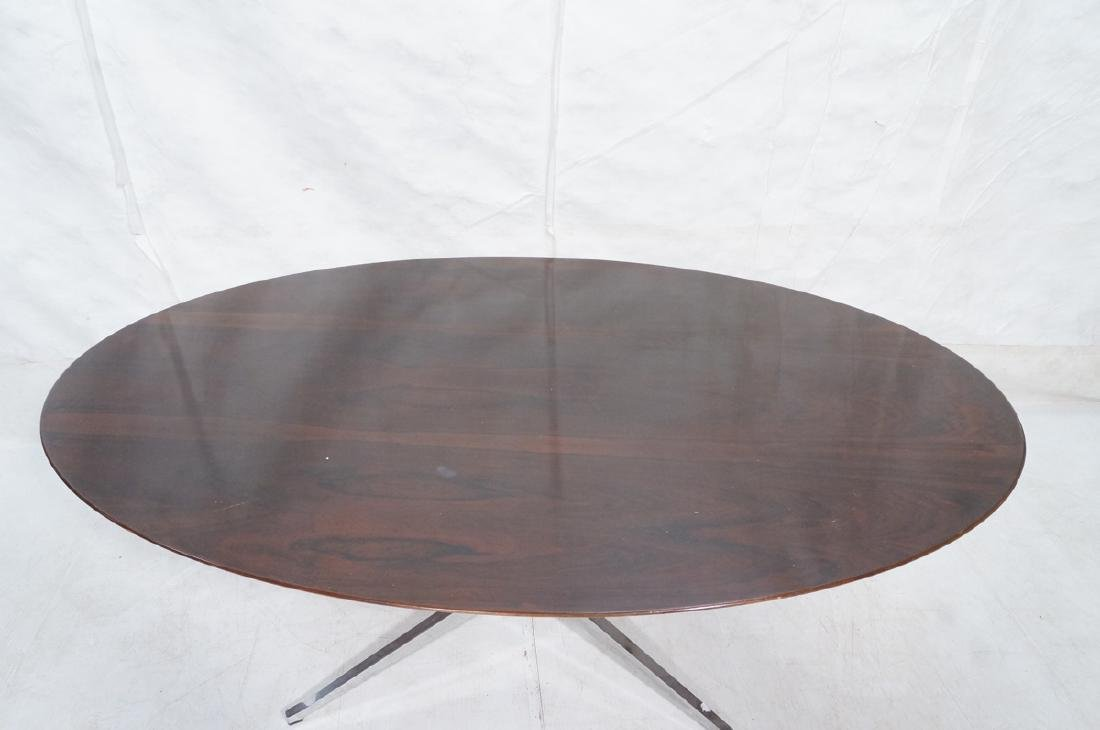 KNOLL Oval Rosewood Dining Table. Stainless Steel - 6
