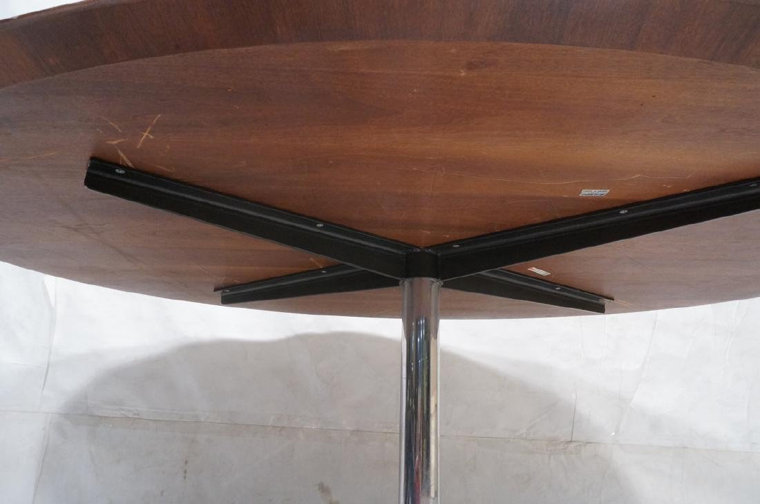 KNOLL Oval Rosewood Dining Table. Stainless Steel - 8
