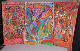 3pc C. WAHRMAN Colorful Abstract Paintings Collag