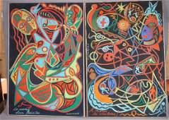 Two C. WAHRMAN Colorful Abstract Paintings. Graph