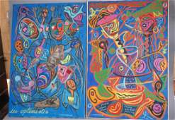 Two C. WAHRMAN Colorful Abstract Paintings Collla
