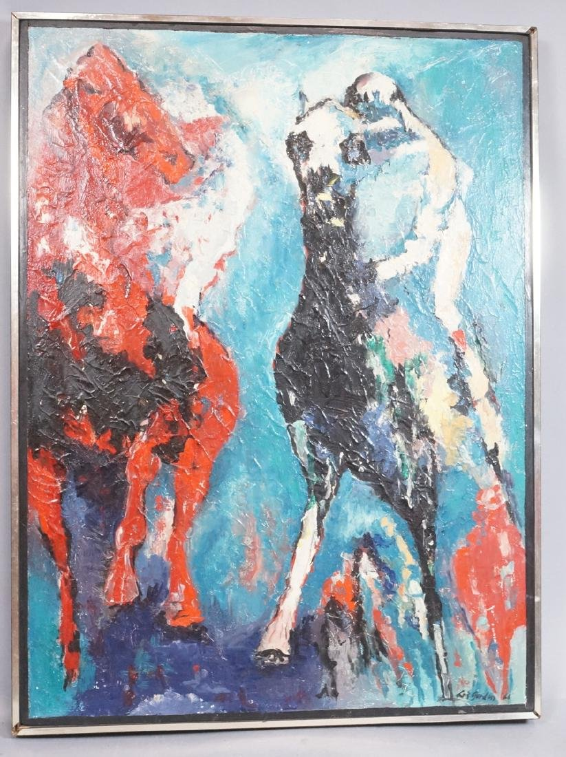 LOUISE GORDON Oil Painting. Two Race Horses. Oil