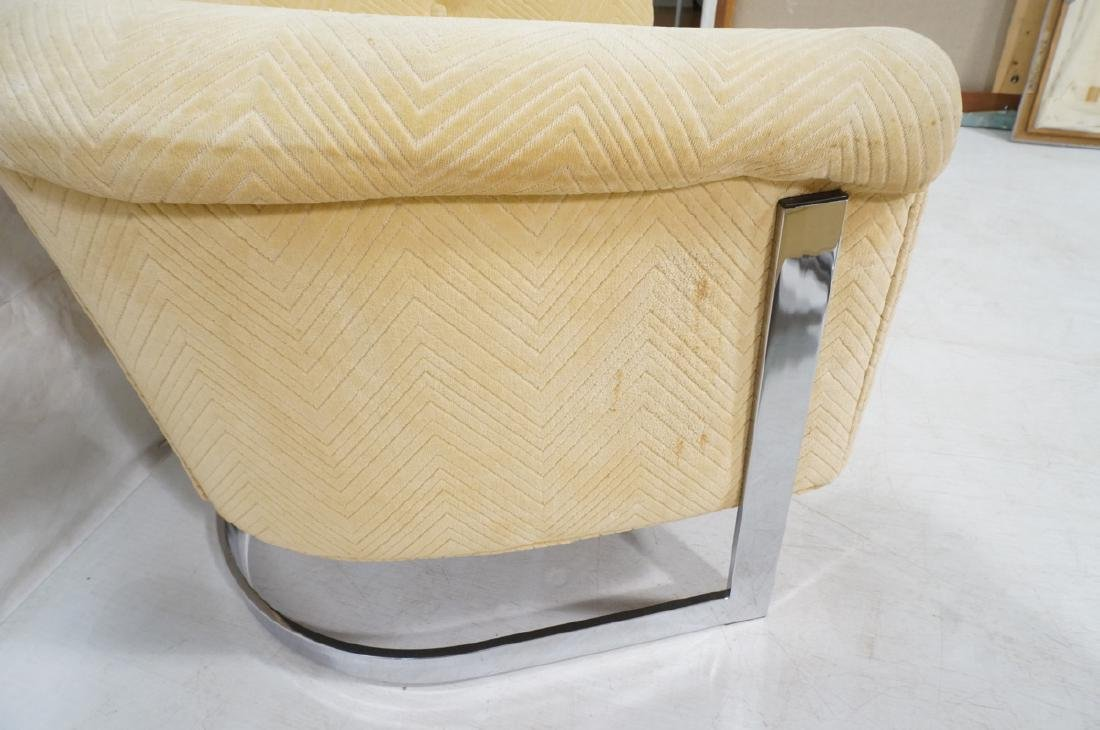 Pr Milo Baughman style Chrome Lounge Chairs. Flat - 10