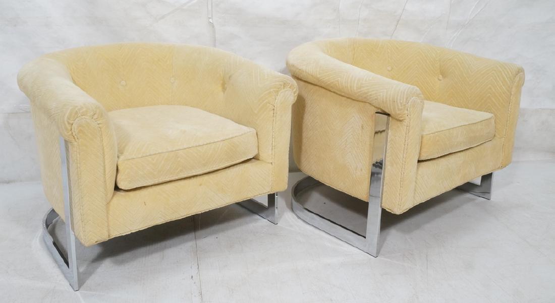 Pr Milo Baughman style Chrome Lounge Chairs. Flat