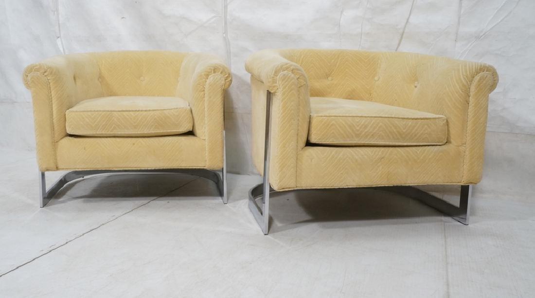 Pr Milo Baughman style Chrome Lounge Chairs. Flat - 2