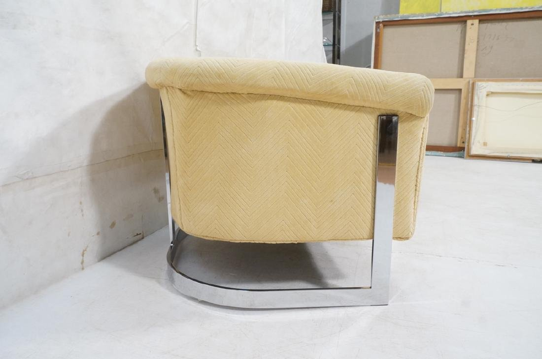 Pr Milo Baughman style Chrome Lounge Chairs. Flat - 3