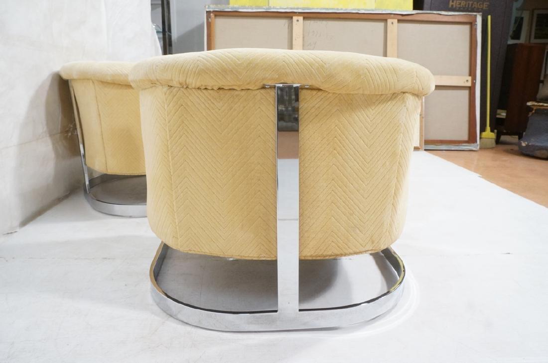 Pr Milo Baughman style Chrome Lounge Chairs. Flat - 4