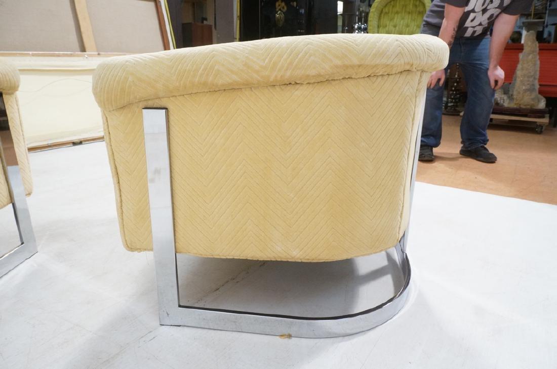 Pr Milo Baughman style Chrome Lounge Chairs. Flat - 5