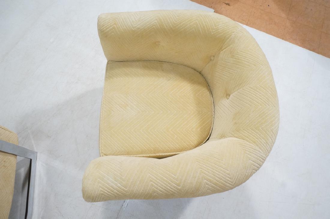 Pr Milo Baughman style Chrome Lounge Chairs. Flat - 6
