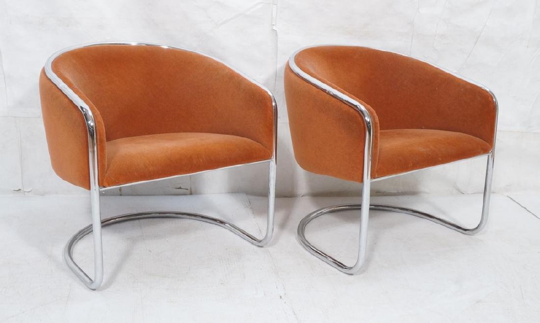 Pr THONET Chrome Tube Frame Lounge Chairs. Modern