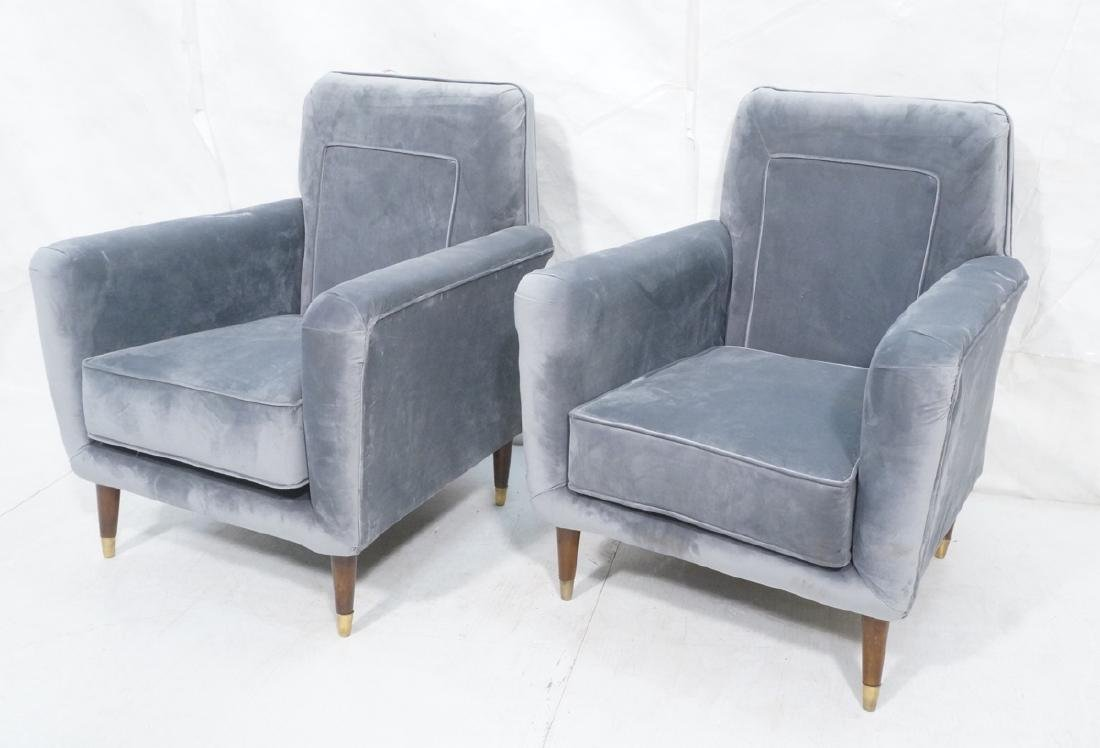 Pr Light Blue Gray Velvet Upholstered Lounge Chai
