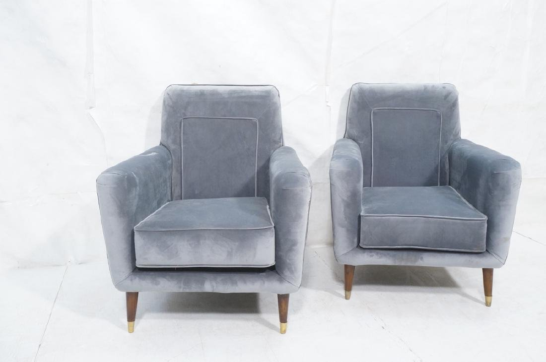 Pr Light Blue Gray Velvet Upholstered Lounge Chai - 2