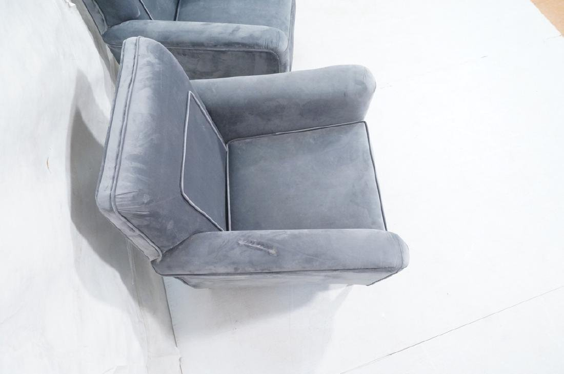 Pr Light Blue Gray Velvet Upholstered Lounge Chai - 4