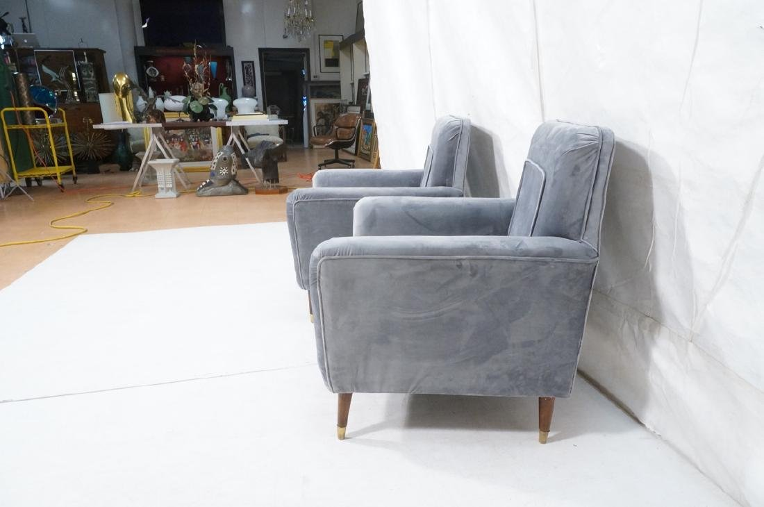 Pr Light Blue Gray Velvet Upholstered Lounge Chai - 5