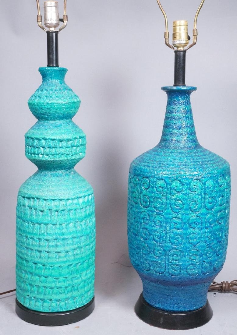 2pcs Italian Glazed Pottery Table Lamps. Rich tur