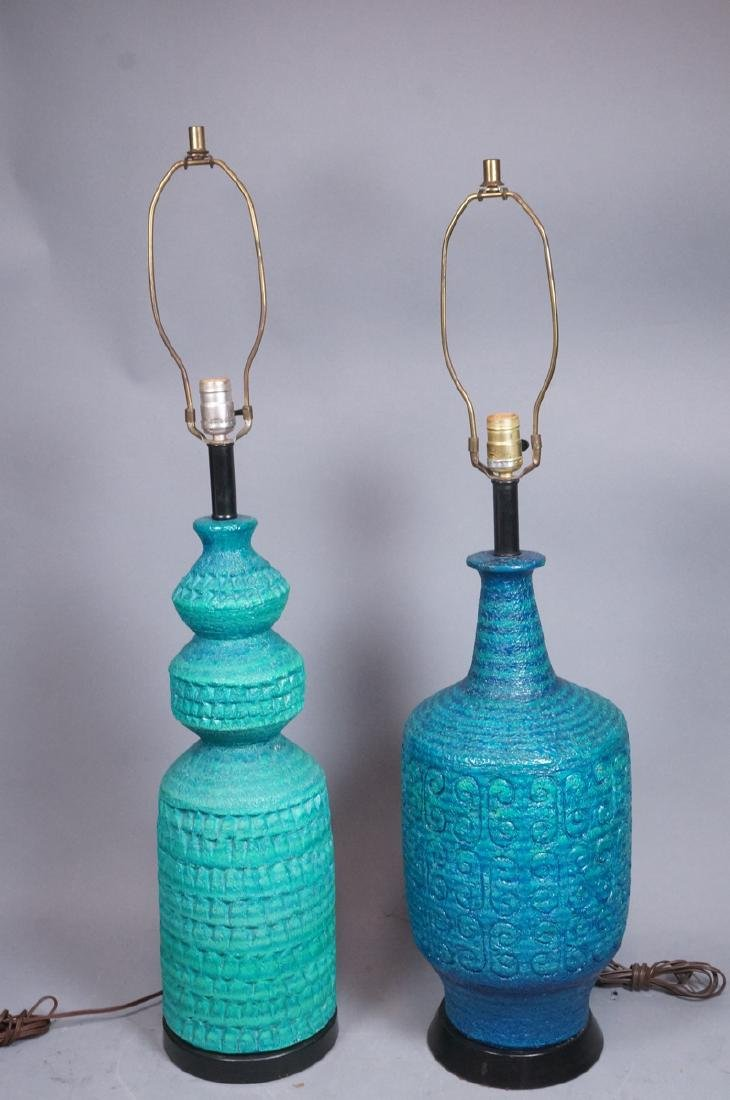 2pcs Italian Glazed Pottery Table Lamps. Rich tur - 2