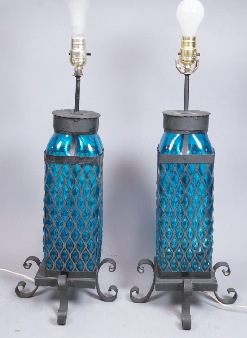 Pr Bubbled Blue Glass In Wrought Iron Cage Frame