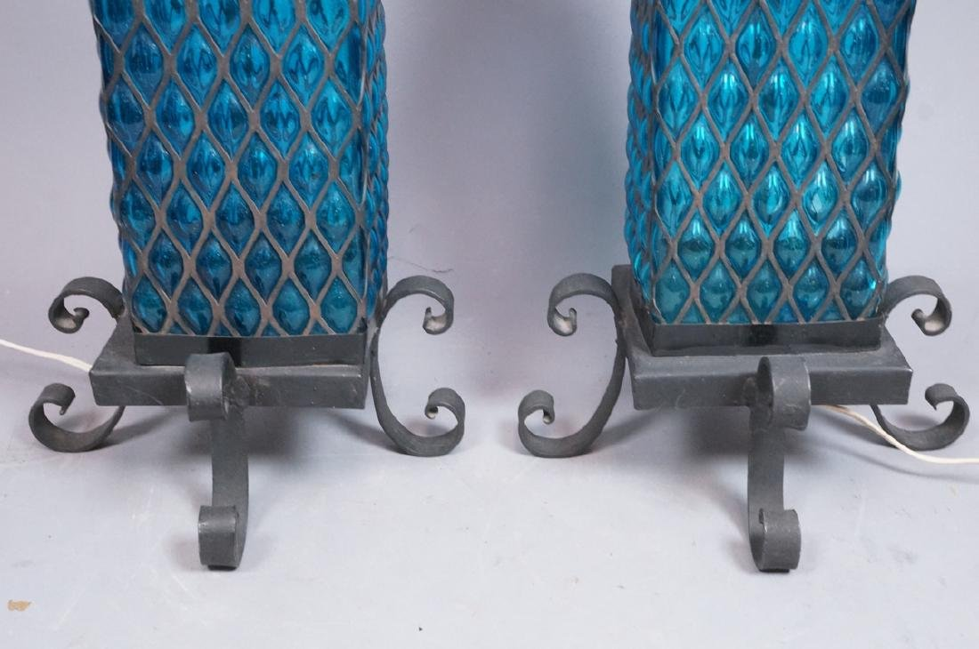 Pr Bubbled Blue Glass In Wrought Iron Cage Frame - 4