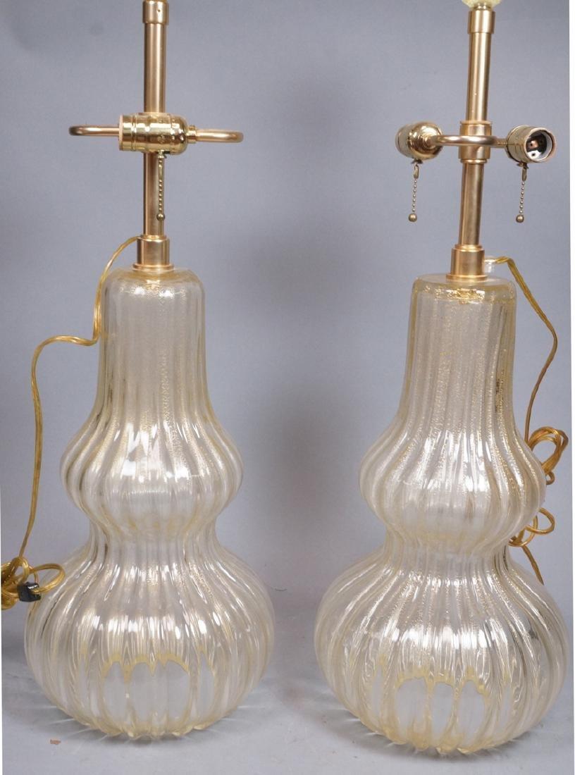 Pr Murano Italian Glass Art Glass Table Lamps.  T