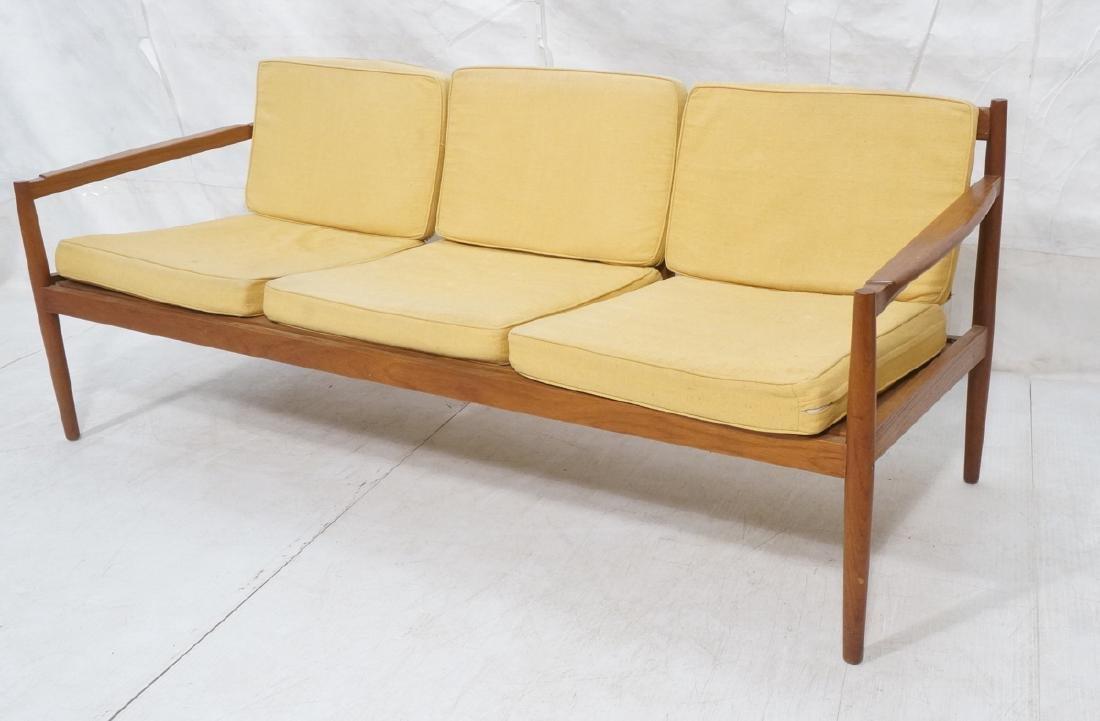 DUX Style Teak Modern Sofa couch. Curved wide sla