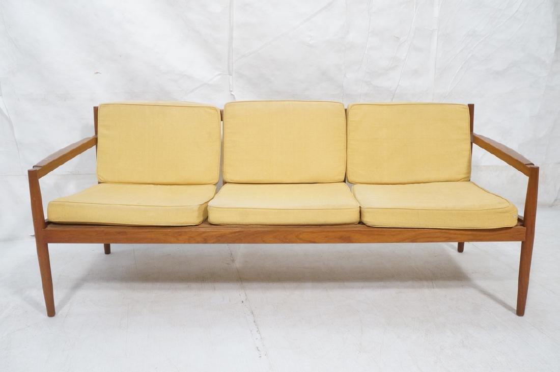 DUX Style Teak Modern Sofa couch. Curved wide sla - 2