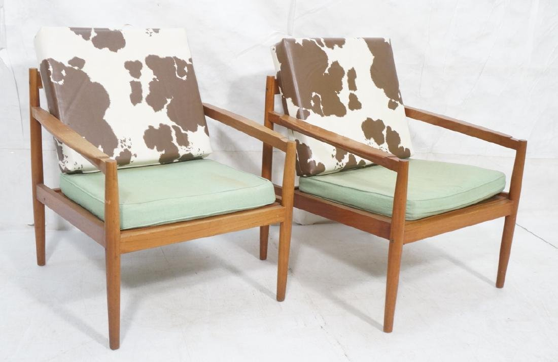 Pr DUX Style Teak Modern Lounge Chairs. Curved wi