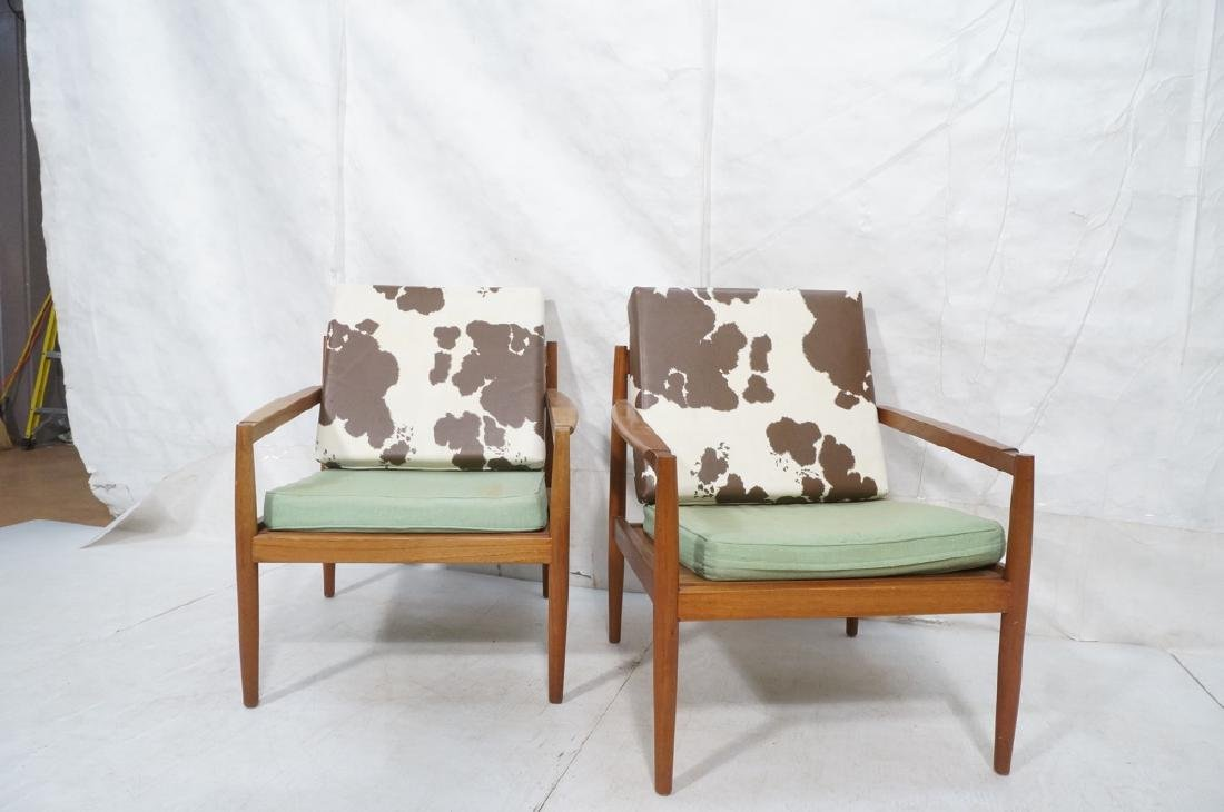 Pr DUX Style Teak Modern Lounge Chairs. Curved wi - 2